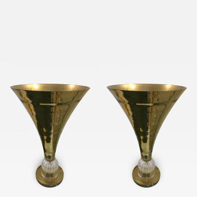 Contemporary Pair of Cone Lamps Gold Murano Glass
