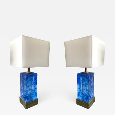 Contemporary Pair of Lamps Blue Murano Glass and Brass Italy