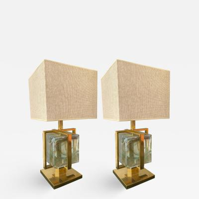 Contemporary Pair of Lamps Brass Cage Murano Glass Cube Italy