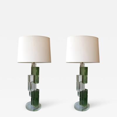 Contemporary Pair of Lamps Cubic Murano Glass Italy