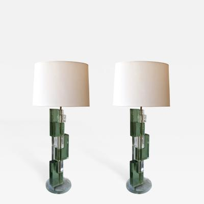 Contemporary Pair of Lamps Cubic Murano Pressed Glass Italy