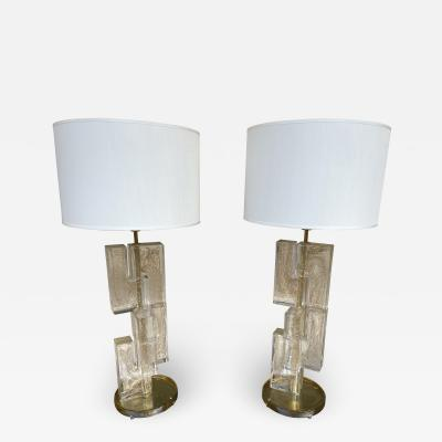 Contemporary Pair of Lamps Gold Leaf Cubic Murano Glass and Brass Italy