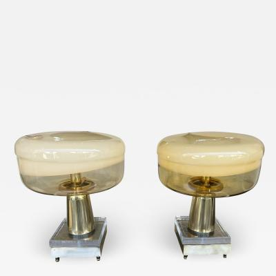 Contemporary Pair of Murano Glass and Brass Lamps Italy