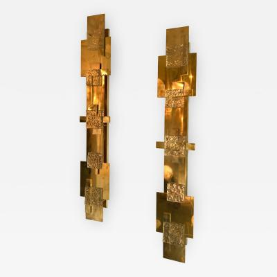 Contemporary Pair of Sconces Geometrical Brass Murano Glass Italy