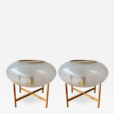 Contemporary Pair of UFO Brass and Murano Glass Lamps