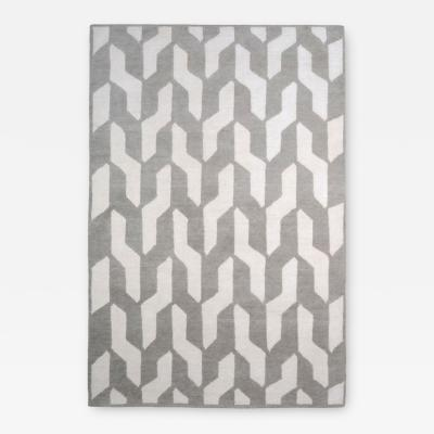 Contemporary Rectangular Grey And White Wool Cable Neutral Rug