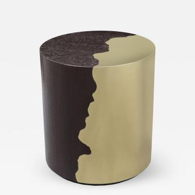 Contemporary Round Oak and Brass Side Table