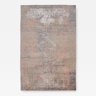 Contemporary Rug Abstract Design with Gray and Pink Colors