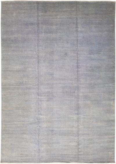 Contemporary Savannah Handmade Blue Solid Pattern Oversize Wool Rug