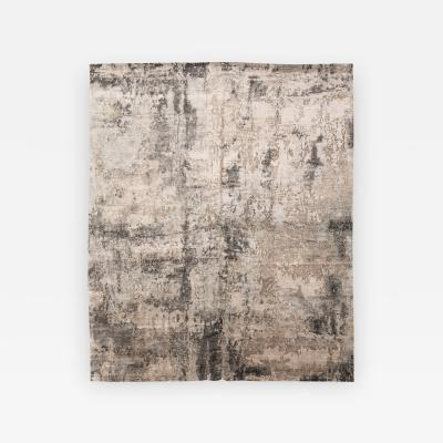 Contemporary Silk and Wool Rug Abstract Design in Beige and Gray Colors