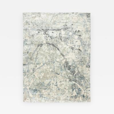 Contemporary Silk and Wool Rug Abstract Design over Gray and Blue Colors