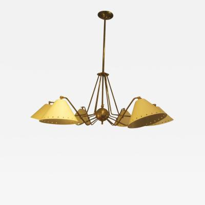 Contemporary Six Light Brass and Tole Fixture in the Mid Century Manner