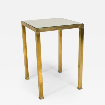 Contemporary Small Low Square Brass Table with a Mirror Top
