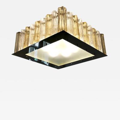 Contemporary Square Italian Crystal Amber Murano Glass Flush Chandelier Pendant