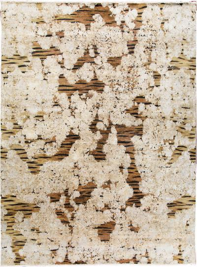 Contemporary Tiger Wool and Silk Hand Knotted Rug in Brown and Cream