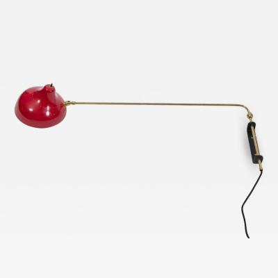 Contemporary Wall Mounted Desk Lamp in Brass Steel and Enamel