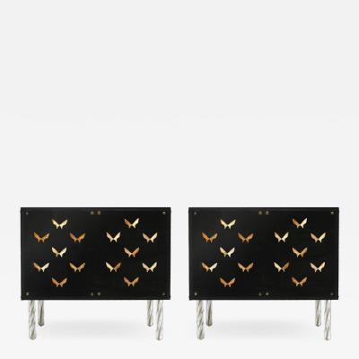 Contemporary Wood and Dark Glass Pair of Sideboards Designed by L A Studio