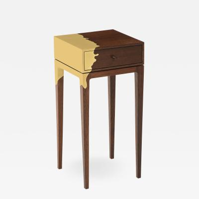 Contemporary oak and brass side table America