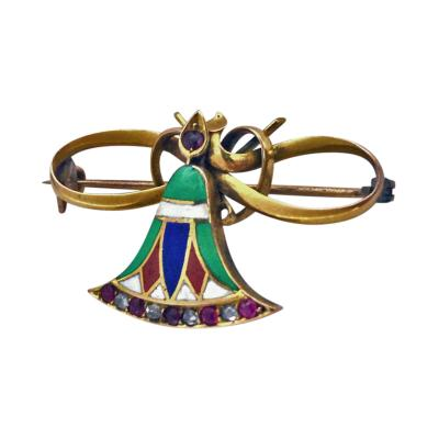Continental 14K Enamel Ruby Diamond Butterfly Brooch C 1920