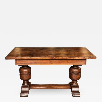 Continental Carved Oak Trestle Table Desk