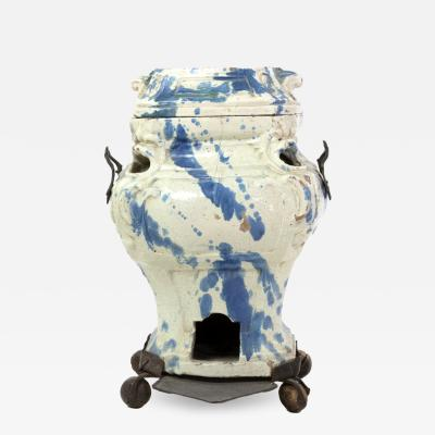 Continental Faience Portable Stove And Cover Late 18th 19th Century