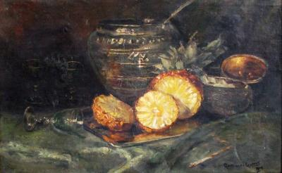 Continental School oil on canvas still life with pineapple