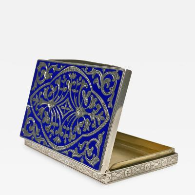 Continental Silver and royal blue Enamel Box C 1920