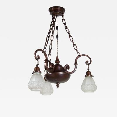Copper Art Deco Chandelier circa 1915