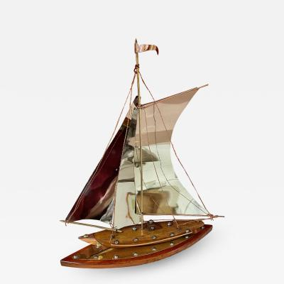 Copper Chrome Brass and Wooden Sailing Boat Sculpture