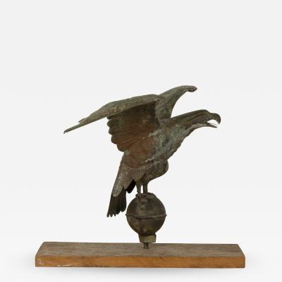 Copper Pilot House Eagle Weather Vane On Later Mount American Circa 1885