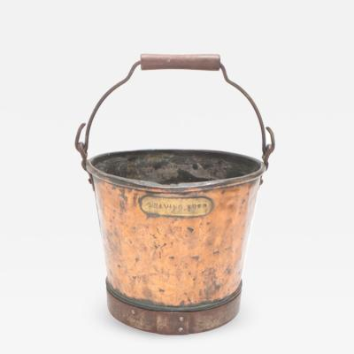 Copper and Brass Weaving Shed Coal Bucket Trash Bin