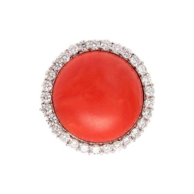 Coral Diamond Gold Ring