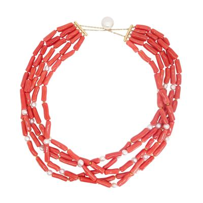 Coral and Pearl Multistrand Necklace