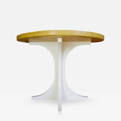 Corinne Robbins Yellow Concrete and Wood Side Table Designed by CR Studio