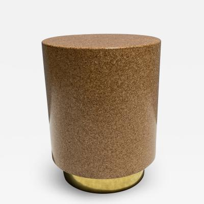Cork and Brass Side Table Taburete