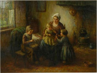 Cornelis Wouter Bouter Happy Days Oil Painting on Canvas of Mother w Children by Cornelius Wouter B