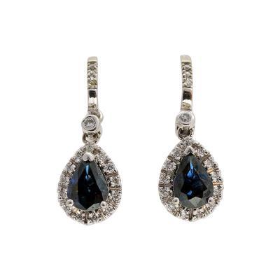 Cornflower Blue Sapphire Diamond Halo Gold Dangle Earrings