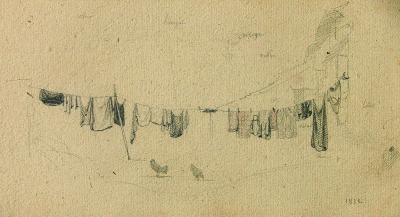 Jean Baptiste Camille Corot A Clothesline