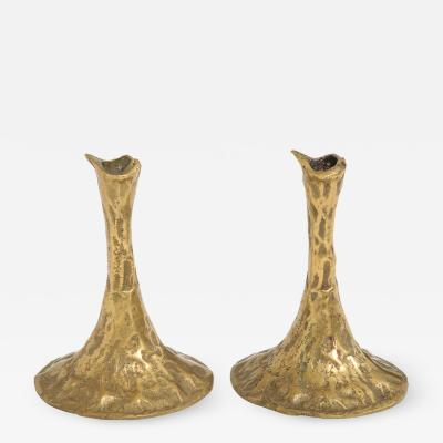 Costa Coulentianos Pair of Bronze Candlesticks by Costa Coulentianos