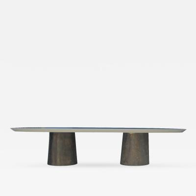 Costantini Design Benone Twin Pedestal Oval Dining Table Cast Bronze Bases Knife Edge Custom