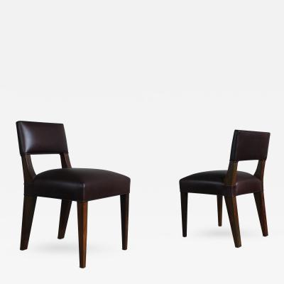 Costantini Design Bruno Low Side Chair in Argentine Rosewood and Leather