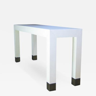 Costantini Design Dino Linen Modern Console with Bronze Sabots Customizable
