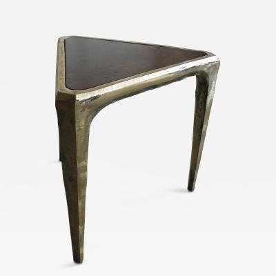 Costantini Design Etrusci Custom Cast Bronze Table with Walnut Burl Top