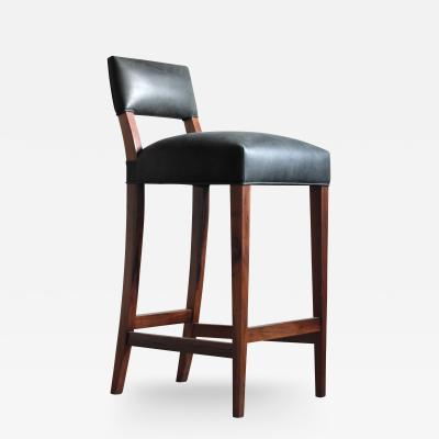 Costantini Design Neto Modern Stool in Rosewood Frame and Argentine Leather