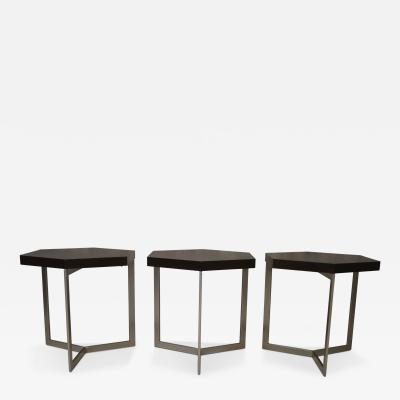 Costantini Design Nicoli Modern Hexangonal Side Table in Steel and Rosewood Customizable