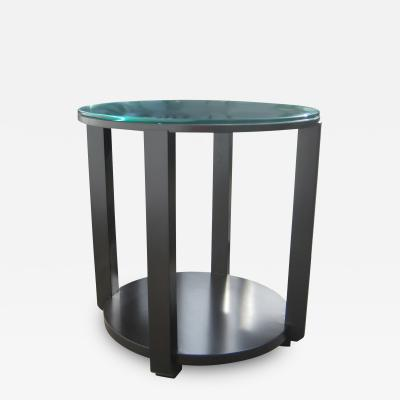 Costantini Design Ottavia Contemporary Round Solid Wood Occasional Table in with Steel Details