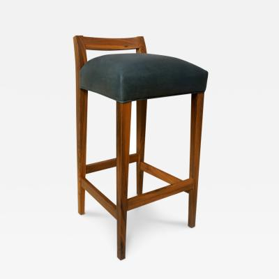 Costantini Design Umberto Contemporary Rosewood and Leather Stool