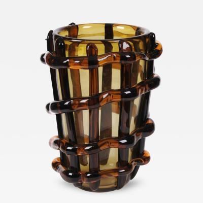 Costantini Large Venetian Murano Glass Vase by Costantini c 1980