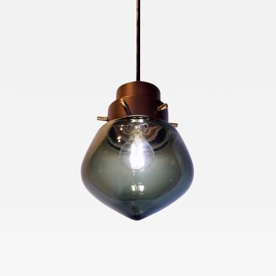 Cosulich Interiors Italian Modern Smoked Aqua Blown Glass Drop Bronze Pendant
