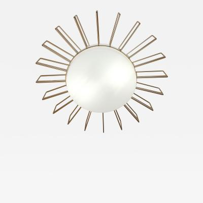 Cosulich Interiors Minimalist Italian Gold Steel Sunburst Pendant Flushmount